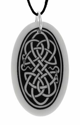Celtic Serpent Oval Handmade Porcelain Pendant