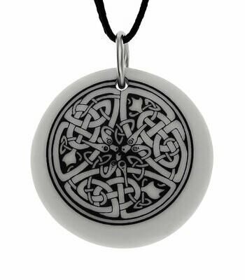 Celtic Serpent Round Handmade Porcelain Pendant