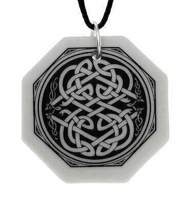 Celtic Serpent Octagon Handmade Porcelain Pendant