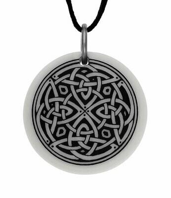 Celtic Knotwork Round Handmade Porcelain Pendant