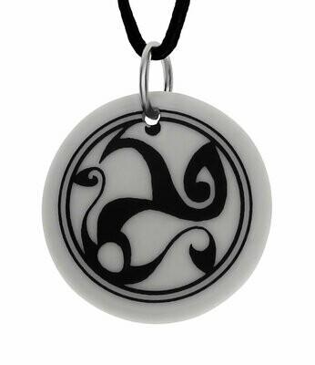 Celtic Spirals Triscele Round Handmade Porcelain Pendant