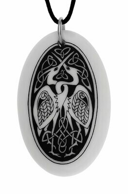 Celtic Birds Oval Handmade Porcelain Pendant