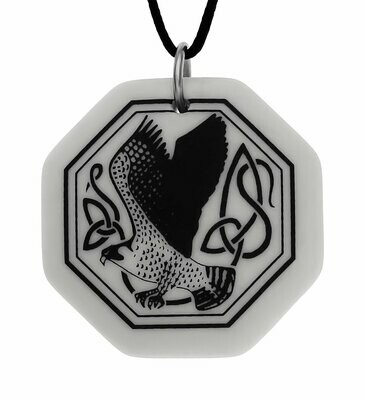 Celtic Kite Bird Octagon Handmade Porcelain Pendant