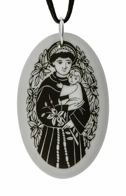 Saint Anthony Oval Handmade Porcelain Pendant