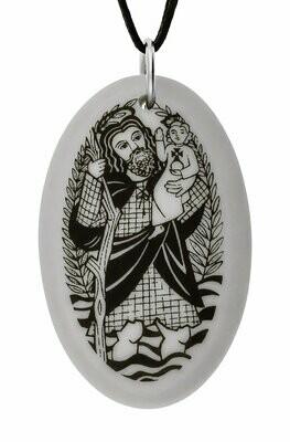 Saint Christopher Oval Handmade Porcelain Pendant