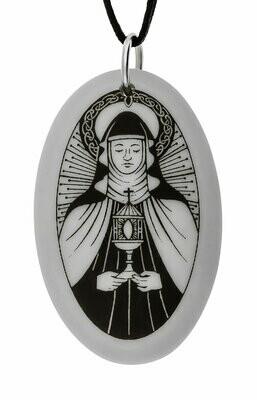 Saint Clare Oval Handmade Porcelain Pendant