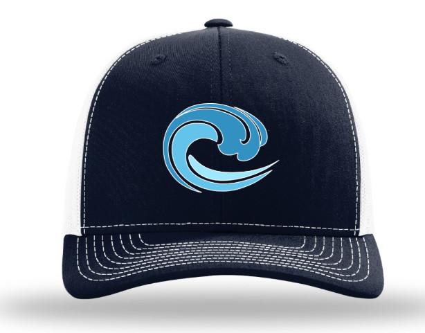 trucker hat; navy/ white