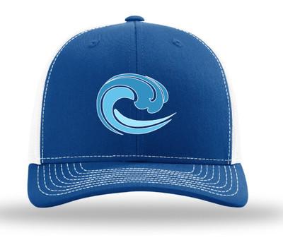 trucker hat; royal/ white