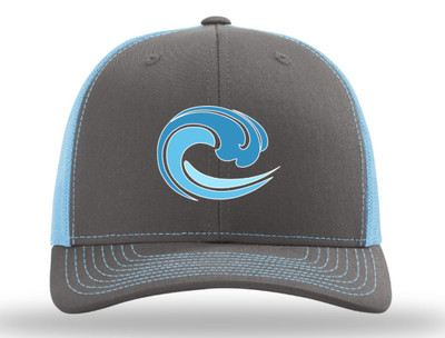 trucker hat; grey/ light blue