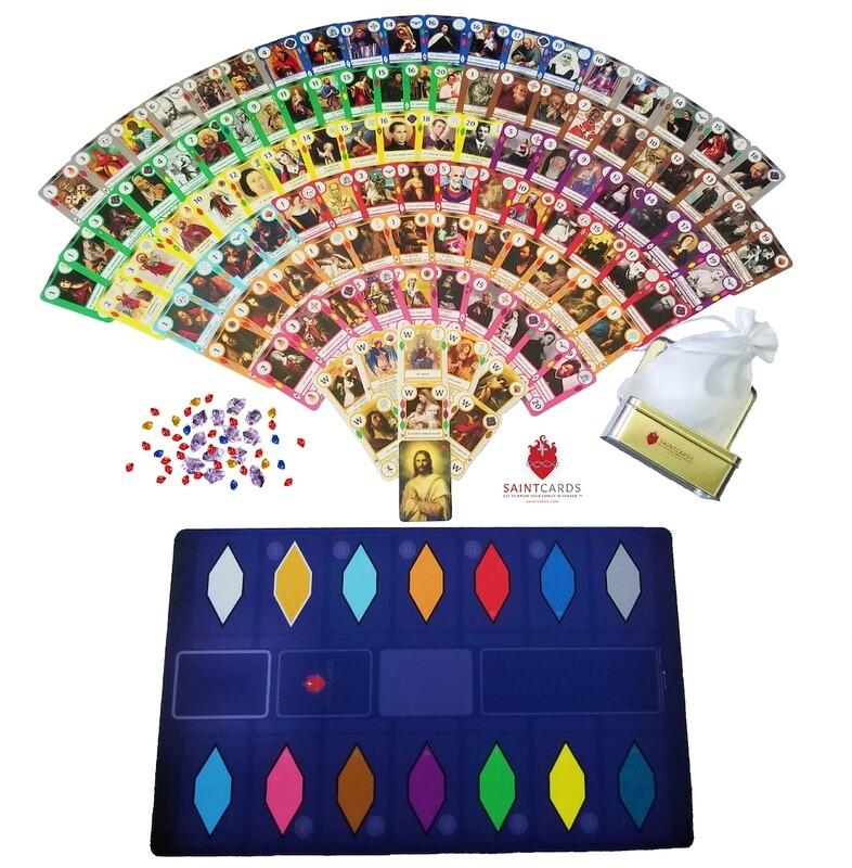 SaintCards: Deluxe Base Game Bundle (106 SaintCards w/Tin & Deluxe Blue Game Mat)