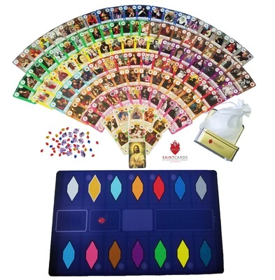 SaintCards: Deluxe Base Game Bundle (106 SaintCards w/Tin & Deluxe Blue Game Mat)
