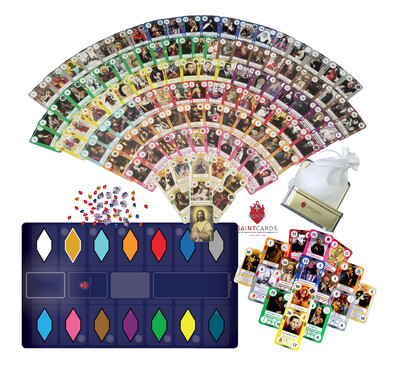 SaintCards: Extraordinary Form Base Game Bundle (106 SaintCards w/Tin, 1960 Calendar Expansion, & Deluxe Blue Game Mat)