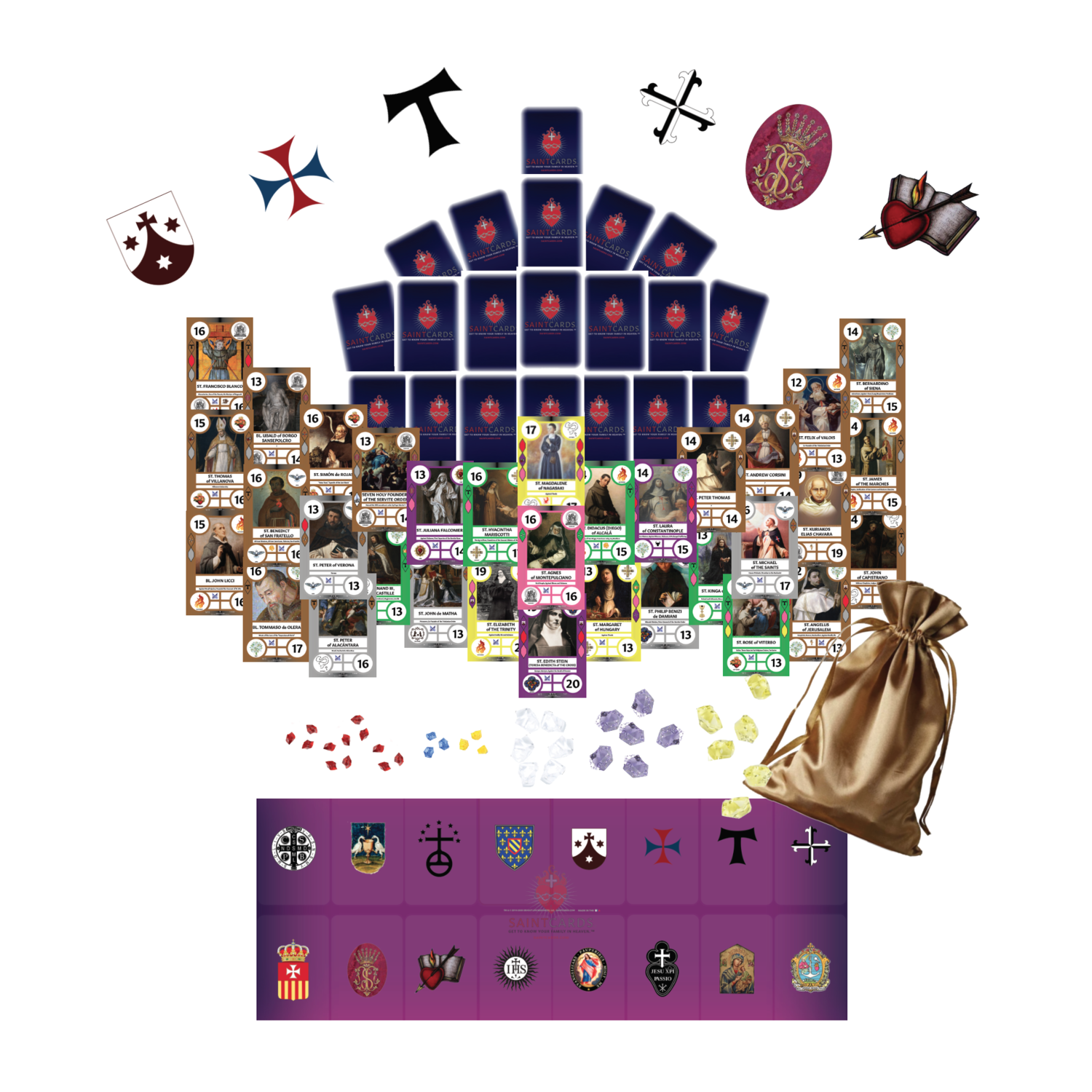 (Pre-order for Sept. 2020) SaintCards: The Mendicant Orders Deluxe Expansion (w/Purple Game Mat)