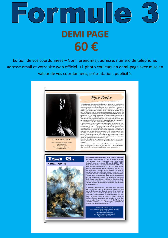 FORMULE N°3- DEMI PAGE