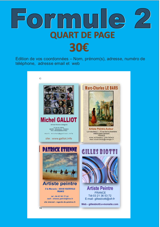 FORMULE N°2- QUART DE PAGE