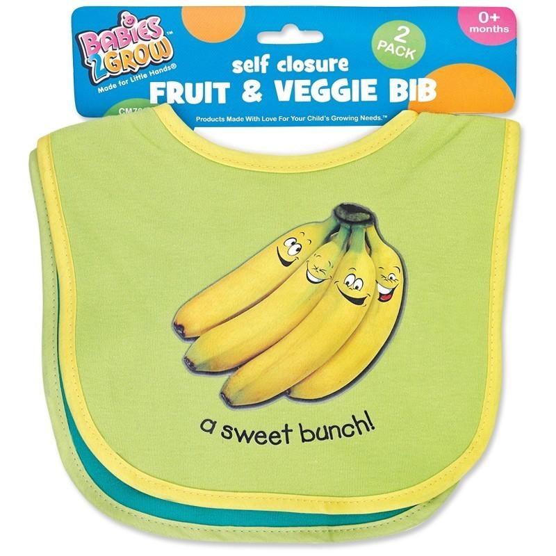 2 Piece Fruit and Veggie Bib Set 3 Color Choices