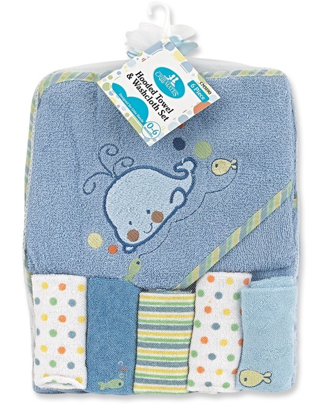 Blue Whale Hooded Towel and 5 Piece Washcloth Set