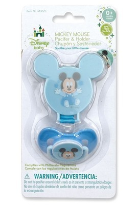 Disney Mickey or Minnie Pacifier with Holder