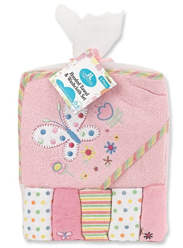 Pink Butterfly Hooded Towel and 5 Piece Washcloth Set