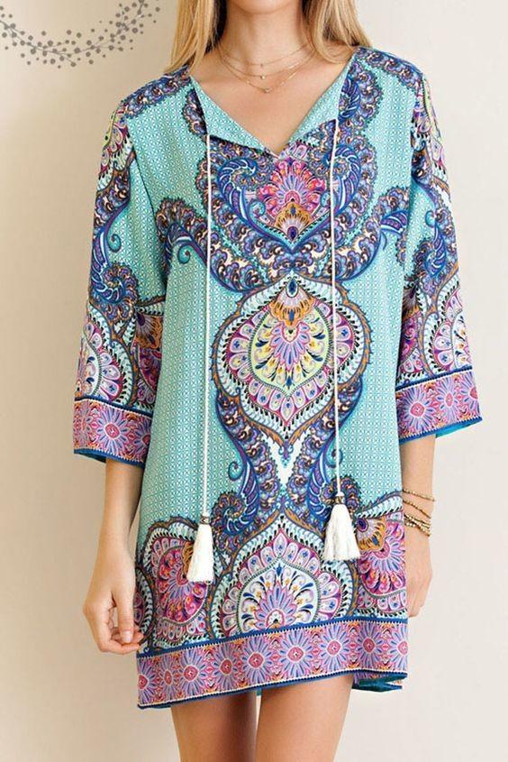 Border Print Shift Dress Color Jade Color ONLY