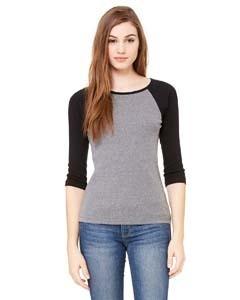 Bella + Canvas Ladies' Baby Rib 3/4-Sleeve Contrast Raglan T-Shirt
