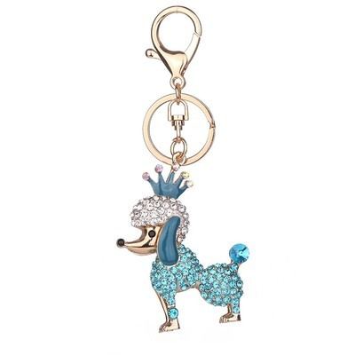 Rhinestone Alloy Poodle Keychain Bag Handbag Key Ring Car Key Pendant