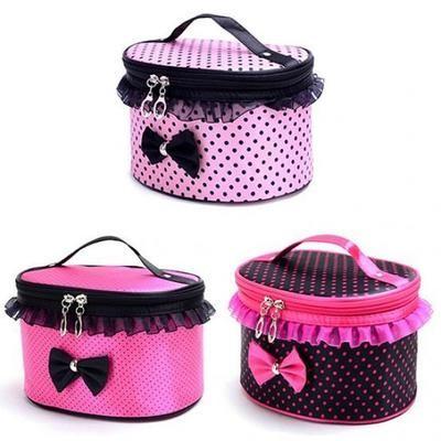 Portable Makeup Bag Bowknot Dots Toiletry Lace Cosmetic Organizer Holder Handbag