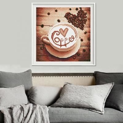 Fashion Full Drill Love Coffee Resin Diamond Painting Craft Kit for Home Decor