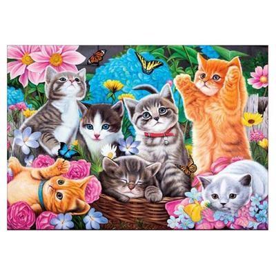 Cute Cat Flower 5D Diamond Painting Embroidery Cross Stitch DIY Craft Wall Decor