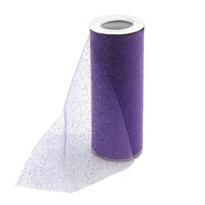 Glitter Tulle - Purple w/ purple Glitter - 6 inches x 10 yards