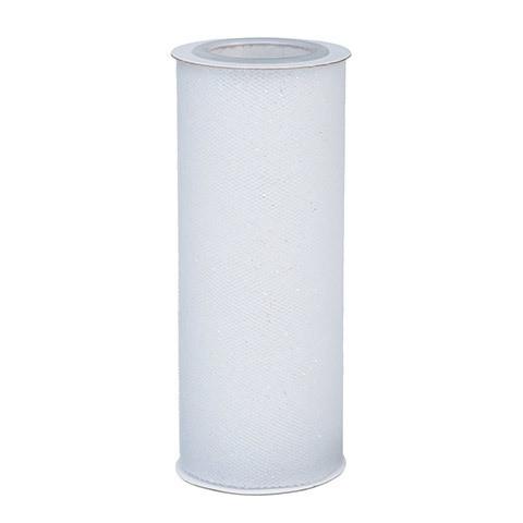 Glitter Tulle - White w/ white Glitter - 6 inches x 10 yards