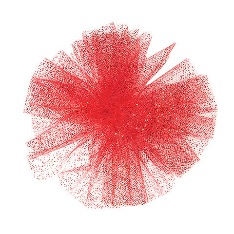 Glitter Tulle: Red, 6 inches x 10 yards