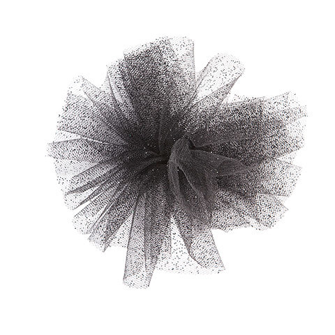 Glitter Tulle: Black, 6 inches x 10 yards