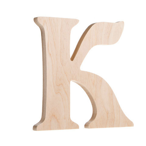 7.25 inch Unfinished Wood Fancy Letter K