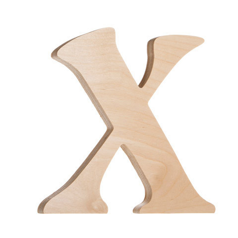 7.25 inch Unfinished Wood Fancy Letter X