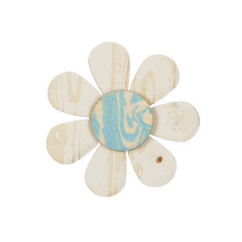 Daisy Wood Craft Shape: Whitewashed/Blue, 3.75 inches