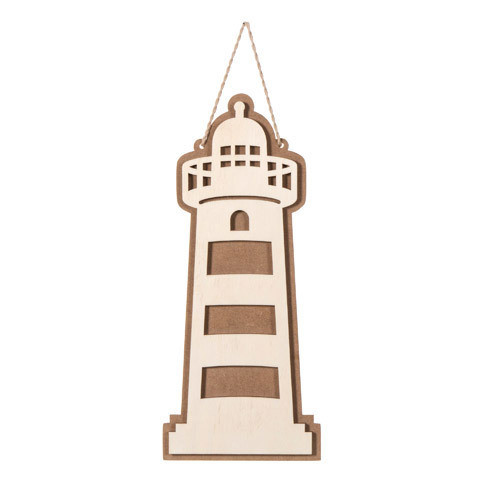Layered Wood & MDF Lighthouse Shape: 11.7 inches