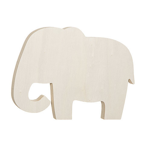 Elephant Standing Wood Shape: 7.5 x 5.5 inches
