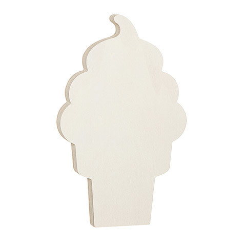 Ice Cream Cone Standing Wood Shape: 4.625 x 7.5 inches