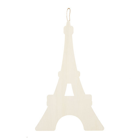 Eiffel Tower Hanging Wood Shape: 9 x 14.5 inches