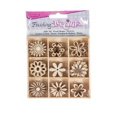 Finishing Accents™ Mini Laser Cuts Wood Shapes - Flower Theme - 45 pieces