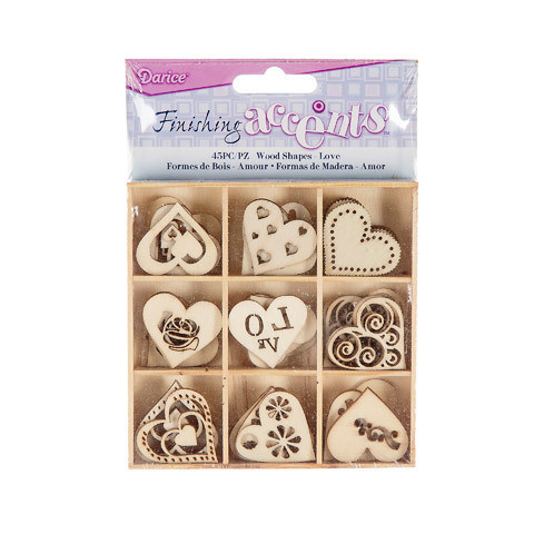 Finishing Accents™ Mini Laser Cut Wood Shapes - Hearts Theme - 45 pieces
