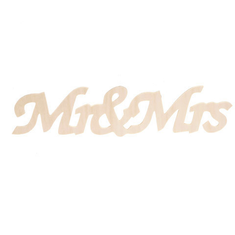Unfinished Wood Mr. and Mrs. Word Sign - 11.75 x 2.375 inches