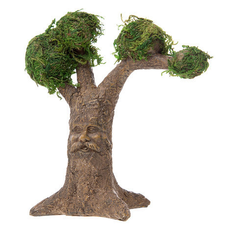 Fairy Garden Tree with Carved Face and Moss-Covered Treetops