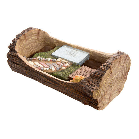 Fairy Garden Planters: Open Log Planter with Stone Walkway & Patio Areas