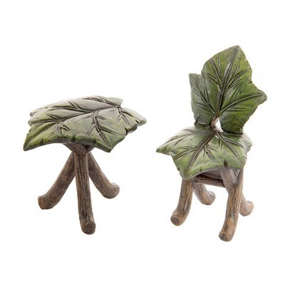 Fairy Garden Furniture Set: Mini Leaf Table & Chair Set, 2 pieces