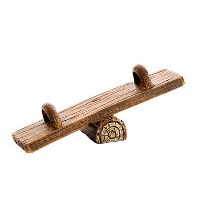 Fairy Garden Playground Supplies: Wood Plank Teeter Totter with Log Base