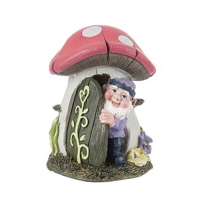 Mini Fairy Garden Mushroom House w/Elf: 4.9 inches
