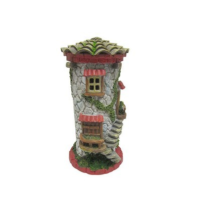 Mini Fairy Garden Tower House w/Stone & Red Brick: 9 inches