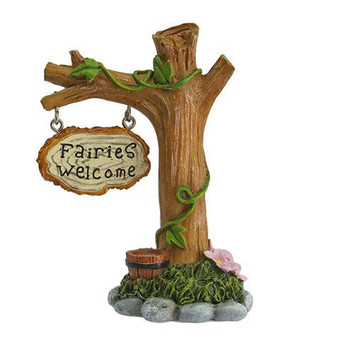 Mini Fairy Garden Fairies Welcome Tree Stump Figurine: 4 inches